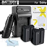 2 Pack Battery And Charger Kit For Sony Alpha SLT-A58K, a58, SLT-A99V, SLT-A65, SLT-A77, SLT-A57 DSLR Camera Includes 2 Extended Replacement (2000Mah) NP-FM500H Batteries + Ac/Dc Rapid Travel Charger + LCD Screen Protectors + MicroFiber Cleaning Cloth