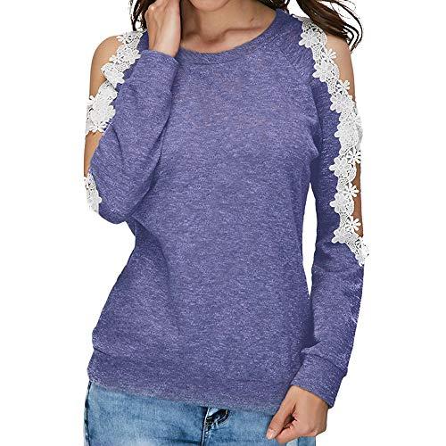 Blouse paule Tops Dentelle Longues Manches Haut Femme Casual AIMEE7 T Shirt Bleu Hors xz6qgTg