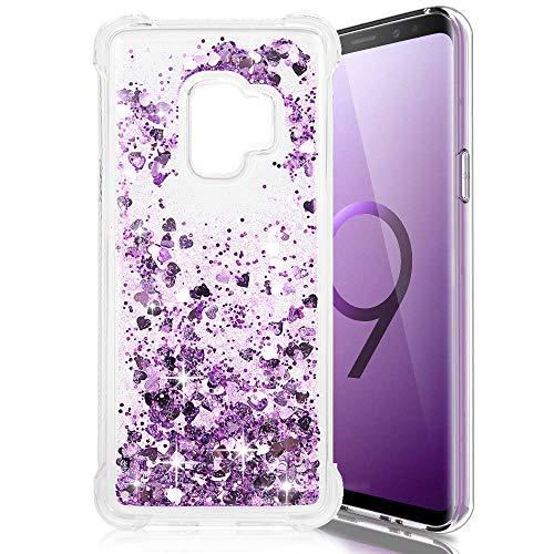 Galaxy S9 Case, Samsung Galaxy S9 Case, Luminous Series Liquid Glitter Cover Sparkle Love Heart TPU Shockproof Bumper for Samsung Galaxy S9 - Purple -