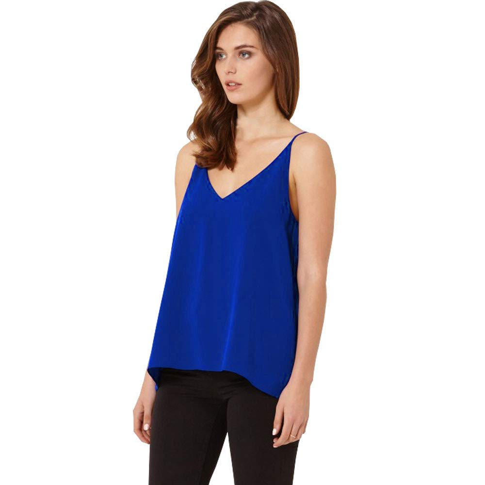 iLUGU Women V Neck Tank Top Chiffon Sleeveless Vest Shirt Cami Blouse Men Pullover Blue