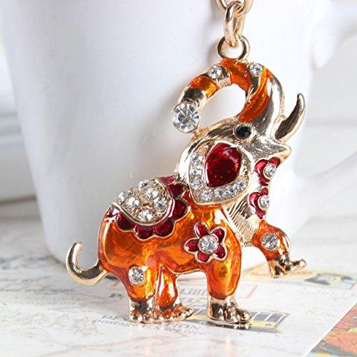 1 Pc Elephant Crystal Keychain Pendants Girls Keys Strap Ball Puff Key Necklace Excellently Popular Pocket Men Bag Car ()