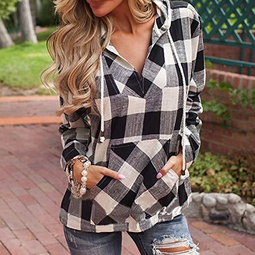 Felpa Ningsun Maglietta Plaid Lunghe Casual Maniche Con Camicia A Cappuccio Elegante Top Top Da Pullover Donna Fashion Black wR6HAwqUn