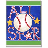 The Kids Room by Stupell All Star Baseball on Blue Rectangle Wall Plaque