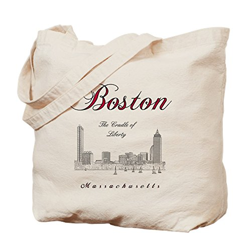 CafePress - Boston_Wmn_Plusv_Front_Skyline_Blackred - Natural Canvas Tote Bag, Cloth Shopping - Ma Prudential