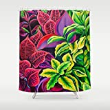 Shower Curtain, Tropical Hawaii Home Decor art by Michal - Magical Flowers - Kauai - 71x74'' - Tropical bathroom Island style