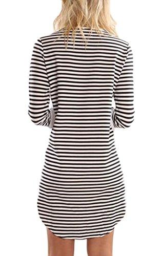 Jaycargogo Encolure Ras Du Cou Rayé À Manches Longues Femmes Casual T-shirt Mini-robe 1