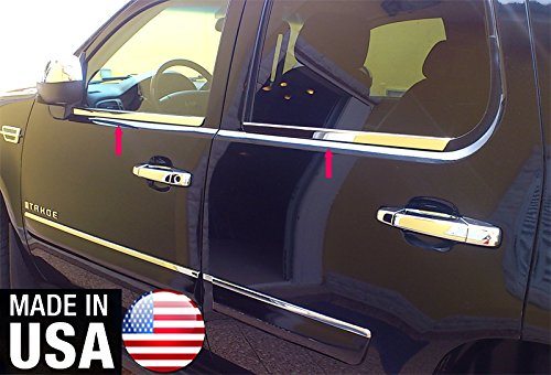Tahoe Chrome Trim - Made In USA! Fit 07-14 Chevrolet Tahoe 4PC Stainless Steel Chrome Window Sill Trim