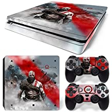 Ps4 Slim Playstation 4 Console Skin Decal Sticker GOW + 2 Controller Skins Set (Slim Only)