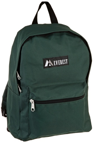 Everest Luggage Basic Backpack, Dark Green, Medium - Back Green