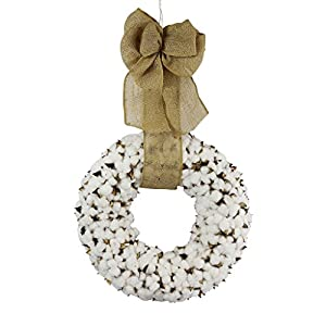 Cotton Wreath With Burlap Bow For Rustic Farmhouse Decor - 18 inches 67