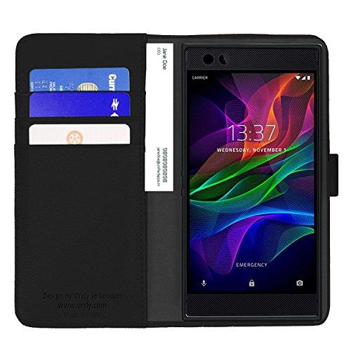 Funda Razer Phone, Orzly Funda Multifunción para el SmartPhone Razer (Modelo 2017) - Multi-Functional Wallet Stand Case - Funda/billetera con tarjetero, soporte integrado y cierre magnético en NEGRO NEGRO para Razer Phone