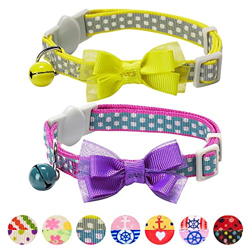 Blueberry Pet Pack of 2 Cat Collars, Square Dots Adjustable Breakaway Cat Collar for Girl & Boy with Bow Tie & Bell, Neck 9