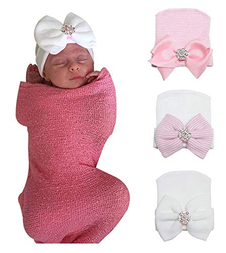 Gellwhu Pink White Blue Newborn Girl Nursery Beanie Hospital Hat with Large Bow (3 Colors Pack K)