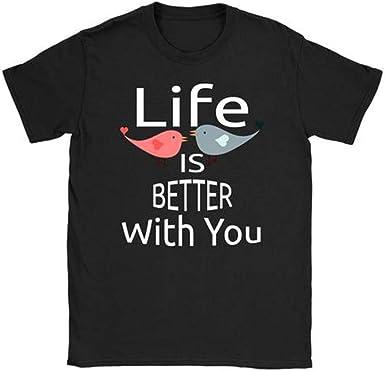 YUFAA La Vida de la Mujer es Mejor para ti Camiseta de Manga Corta con Estampado de Aves Tops Camisa de Entrenamiento (Color : Negro, Size : XL): Amazon.es: Ropa y accesorios