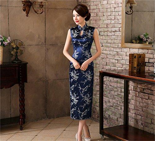 Shanghai Story Keyhole Qipao Long Chinese Traditional Dress Cheongsam 12 Dblue by Shanghai Story (Image #2)