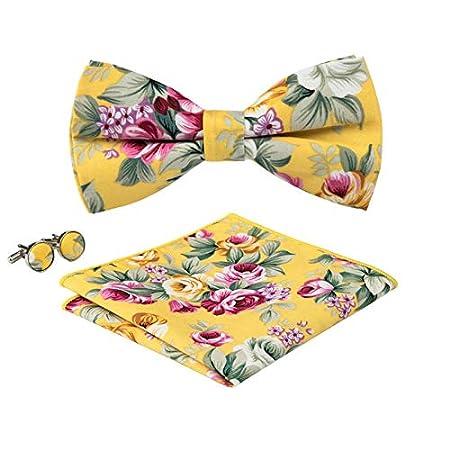 fad934c24262 Amazon.com : Graven LF-603 Barry.Wang Men's Brand Adjustable Print Colorful  Bow Ties Hanky Cufflinks Sets for Men`s Formal Wedding Party Groom -  (Color: ...