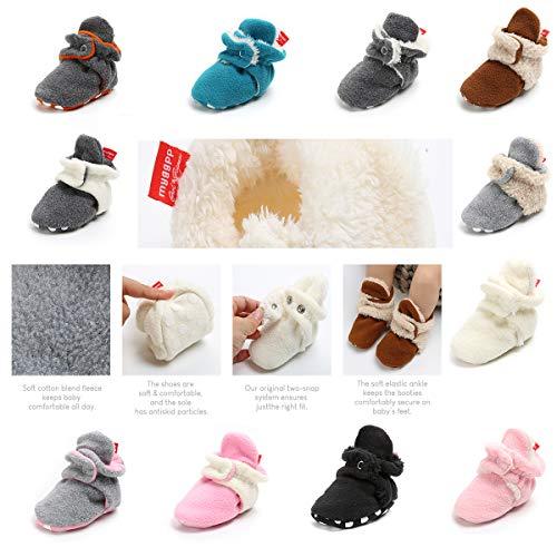 LUWU Baby Boy Girls Newborn Soft Fleece Booties Infant Toddle Crib Shoes Winter Snow Boots (0-6 Months, Beige-Light Grey) ()