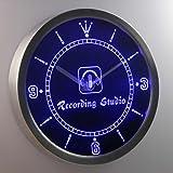 nc0370-b Recording Studio Microphone Bar Neon Sign LED Wall Clock