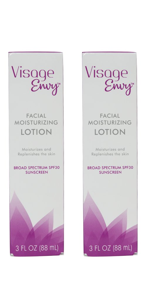 Visage Envy Facial Moisturizing Lotion Infused with Hyaluronic Acid and Vitamin E to Hydrate Skin - SPF 30 Lightweight Non-Greasy Daily Face Moisturizer with Sunscreen, 3 Ounce (2 Pack)