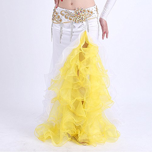 White Professional Belly Dance Costume (Belly Dance Skirts Professional Belly Dance Costume Waves Skirt Dress Colour 7 (White))
