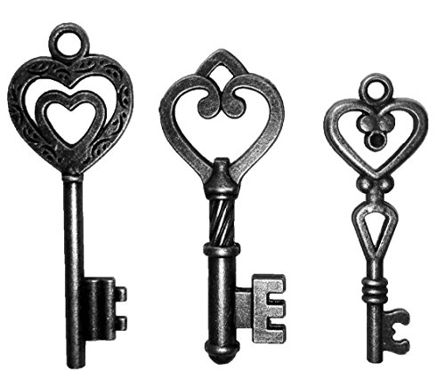 Mixed 30PCS Key Set, Antique Skeleton Keys, Vintage Steam Punk Keys, Castle Dungeon Pirate Keys for Birthday Party Favors, Mini Treasure Toy Gifts, Medieval Middle Ages Theme, Heart (Black)