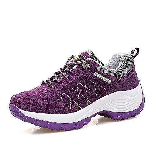 Trainers de Cordones de de con Negro Qiusa Rocker Gran tamaño Púrpura Color Zapatos Mujer EU tamaño Walking 39 Sole Hiking 0tq8w5Ox