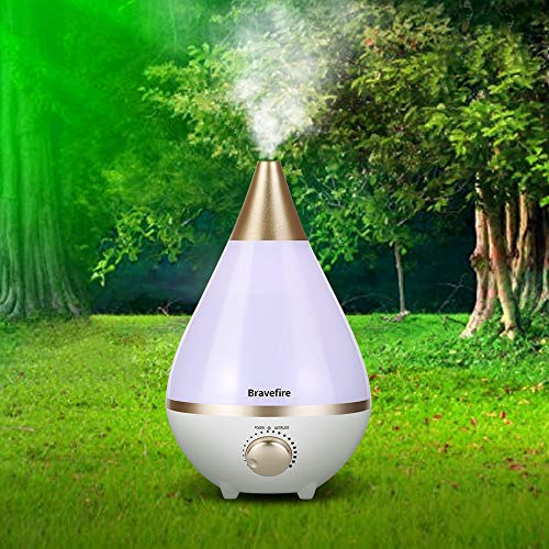 Bravefire Cool Mist Humidifier – ultrasonic humidifiers for Bedroom/Living Room/Baby – Whole House Solution – Large 3L Water Tank – Auto Shut Off – 12-24 Hours Working Time