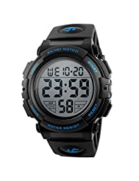 Men's Black Sport Watch, Outdoor Military Silicone Waterproof Chronograph Watch Simple Digital Black Wrist Watch