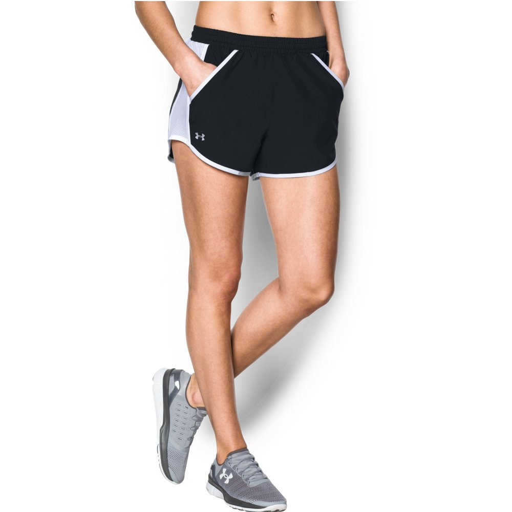 Under Armour womens Fly By Running Shorts, Black (001)/Reflective, X-Small