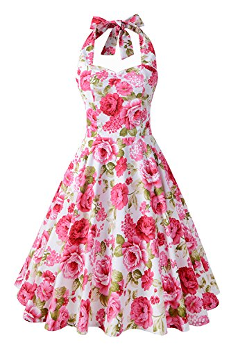Chicanary Women's Floral Printed Cotton Halter Swing Vintage Dress (Small, Floral)