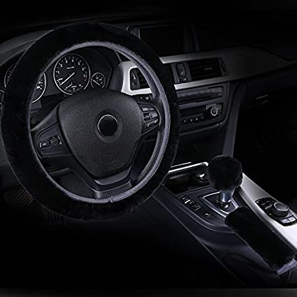 Fluffy Steering Wheel Cover Set Black for Women Men Fuzzy Winter Warm Wrap  Universal Fits Car Auto Truck Jeep 14-15 inches with Handbrake Cover Gear