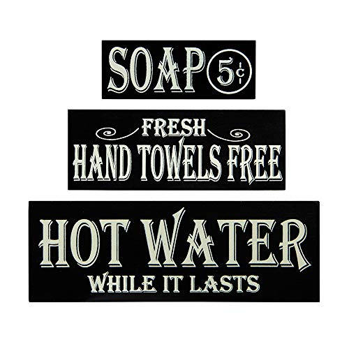 OHIO WHOLESALE, INC. Hot Water, Hand Towels, Soap Lot of 3 Small Wood Block Signs Rustic Bath Country Vintage - Blocks Primitive Sign Country