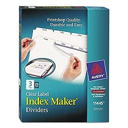 Avery 11445 Index Maker 3-Tab White Divider Clear Laser/Ink Jet Labels 25 Sets