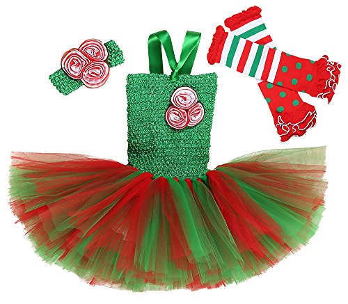 Tutu Dreams Christmas Miss Santa Cosplay Outfits for Little Girls Green and Red (Medium) -