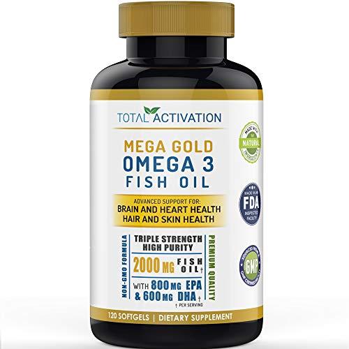 Omega 3 Fish Oil Advanced Brain Power Supplement, Skin, Hair & Heart Health Support, Vitamin E & High Potency EPA DHA, Non-GMO Burpless Small Liquid Softgels, 2000mg, 120 Count
