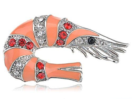 [Alilang Silvery Tone Multi Color Rhinestones Peach Shrimp Crawfish Brooch Pin] (Crawfish Costumes)