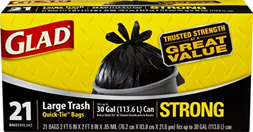 Glad Strong Quick-Tie Large Trash Bags - 30 Gallon - 21 Count