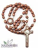 Wood Beads Catholic St. Benedict Rosary Holy Land Necklace Handmade Jerusalem