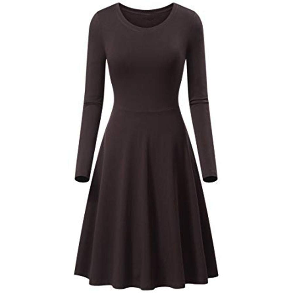 Womens Dress, Womens Solid Long Sleeve A-line Mini Dress Swing Dress Holiday Midi Dress Cafe Bar Dress YOcheerful