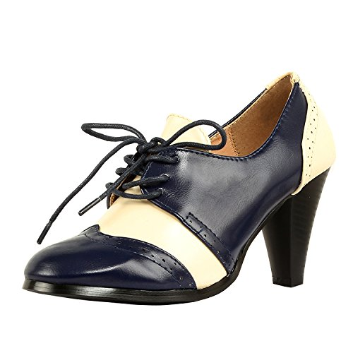 Guilty Shoes Retro Two Tone Embroidery - Wing Tip Lace Up - Kitten Heel Classic Pump Oxfords-Shoes, NAVYWHITE, 8