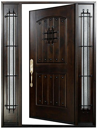 Knotty Alder12'-36'X80' Exterior Front Entry Door Solid Wood With Sidelights Right hand inswing