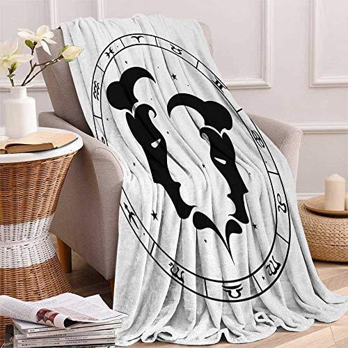 Betterull Zodiac Gemini Throw Blanket Zodiac Wheel with Twelve Signs Abstract Male Portraits with Stars Tattoo Velvet Plush Throw Blanket 60x36 Inch Black and White