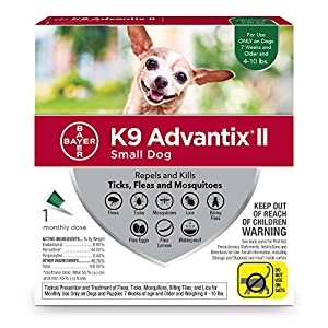 Bayer K9 Advantix II Flea, Tick & Mosquito Prevention for Small Dogs, 4-10 lb, 1 dose 35