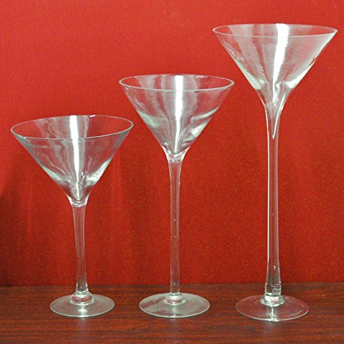 FIREFLY Tall Martini Glass Vase, 20-inch, 4-pack ()