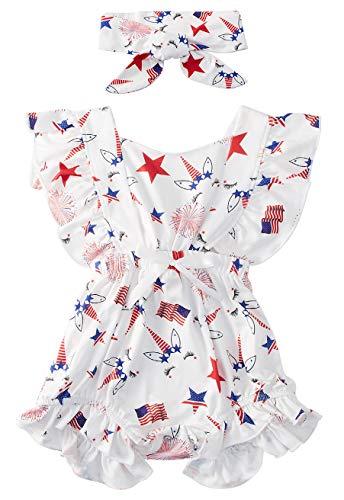 Toddler Newborn Baby Girls Summer July 4th Unicorn Star Flag Pattern Onesie 2pc Vacation Tirp Bow Creep Romper with Headband 0-6M
