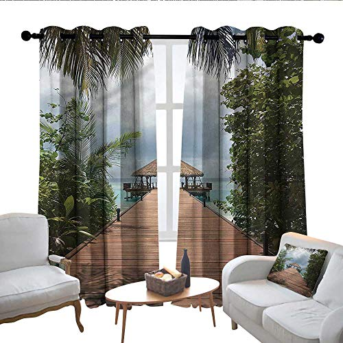 Light Blocking Curtains Landscape,Wooden Deck by The Sea,for Bedroom, Kitchen, Living Room 100
