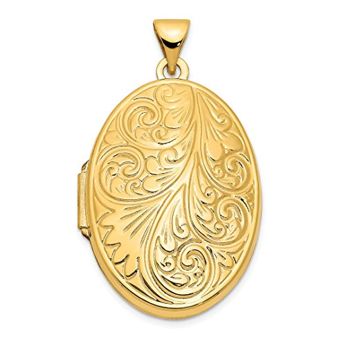 - 14k Yellow Gold Scroll Oval Photo Pendant Charm Locket Chain Necklace That Holds Pictures Fine Jewelry Gifts For Women For Her