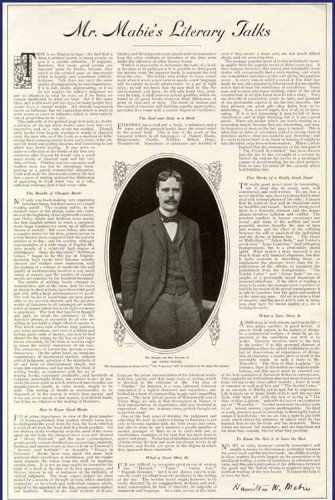 1903 Hamilton W. MABIE Article ON Literary Talks Original Paper Ephemera Authentic Vintage Print Magazine Ad/Article