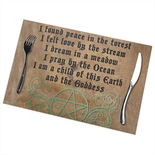 (Bizwheo Beautiful Wiccan Poem Non-Slip Plate Cup Coaster Cushion Placemat 12 x18 Inch 6PCS)