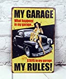 My Garage Wall Decals Antique Art Metal Painting Vintage Tin Sign Mural Wall Cafe Bar Pub Garage Decor